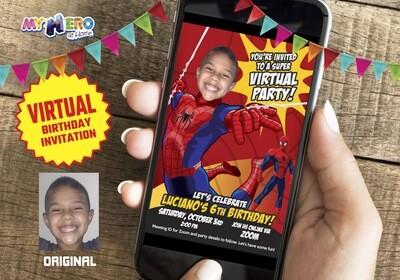 Spider-Man Virtual Birthday Invitation, Spider-Man Virtual Party, Spider-Man Digital, Spider-Man Social Distance Birthday. 101CV