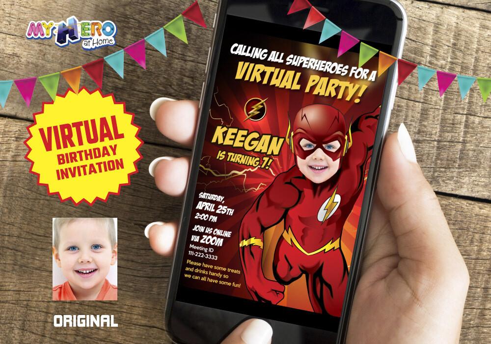 Flash Virtual Birthday Invitation, Flash Online Birthday, Flash Virtual Party, Flash Birthday Parade, Flash Drive By Party. 149CV