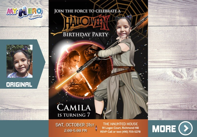 Girl Star Wars Halloween Party Invitation. Jedi Rey Halloween Party. Halloween Black and Orange themed party. Halloween Birthday Party. 033