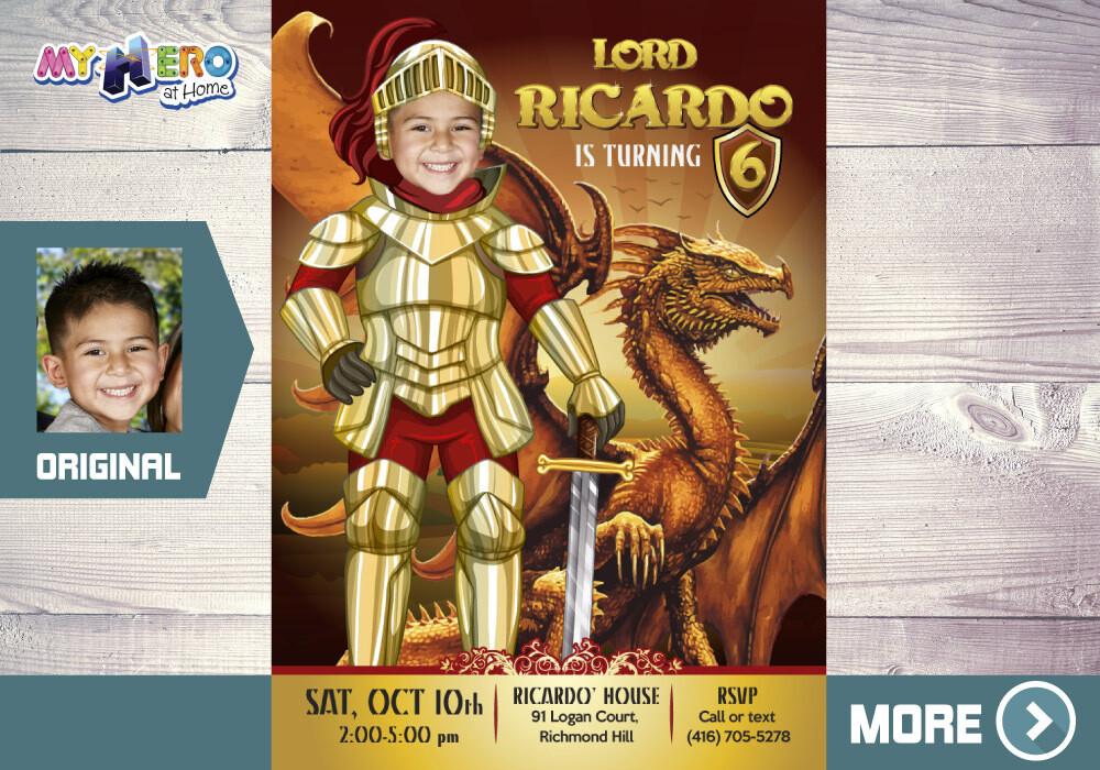 Medieval Knight Birthday Invitation. Dragons Birthday Invitation. Knight and Dragons Theme Party. Dragons Party. Knights Birthday. 219