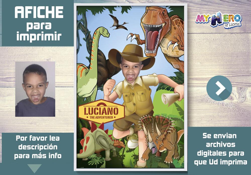 Afiche Personalizado de Dinosaurios. Decoración Dinosaurios. Fiesta Dinosaurios. Afiche Dinosaurios. 468SP