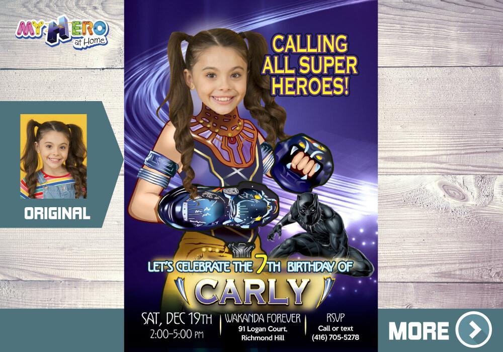 Shuri Birthday Invitation. Princess Shuri Birthday. Black Panther theme Party for Girls. Princess Shuri Digital Invitation. 178