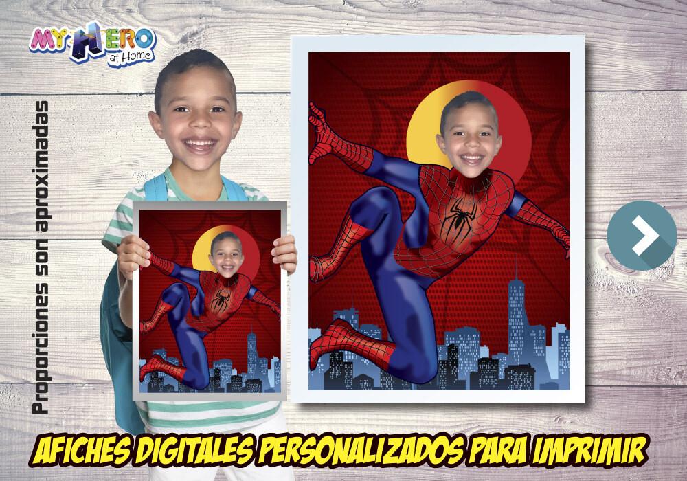 Afiche Personalizado de Spider-Man. Convierta a su niño en el Hombre Araña para protagonizar su Afiche. Decoración Spider-Man. 469SP