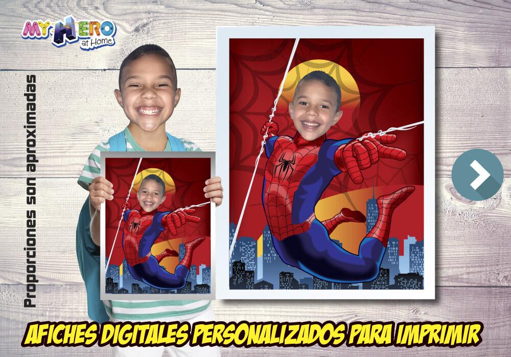 Afiche Personalizado de Spider-Man. Convierta a su niño en el Hombre Araña para protagonizar su Afiche. Decoración Spider-Man. 470SP