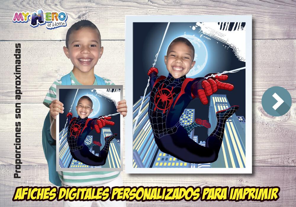 Afiche Personalizado de Spider-Verse  Convierta a su niño en Miles Morales para su Afiche de Spider-Verse. Decoración Spider-Verse. 471SP