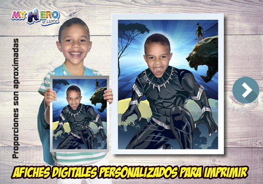 Afiche Personalizado de Black Panther  Convierta a su niño en la Pantera Negra para protagonizar su Afiche. Decoración Black Panther. 472SP
