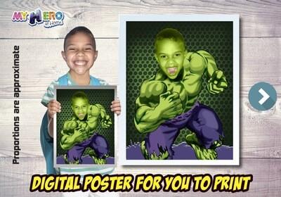 Hulk Poster, Hulk Decoration, Hulk Art, Hulk Fans, Hulk Gifts, Avengers Decor, Avengers Gifts Fans, Hulk theme Party. 473