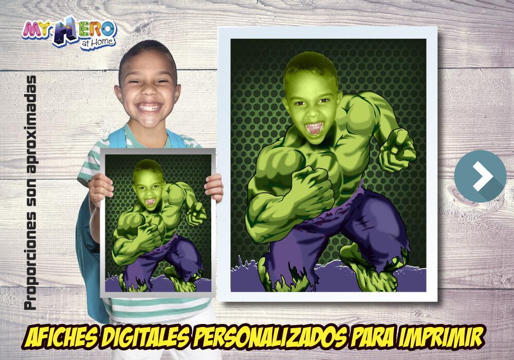 Afiche Personalizado de Hulk. Convierta a su niño en Hulk para protagonizar su Afiche de Hulk. Decoración Hulk. 473SP