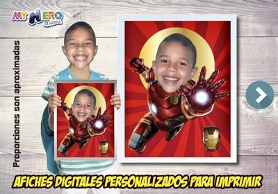 Afiche Personalizado de Iron-Man. Convierta a su niño en Iron-Man para protagonizar su Afiche de Iron-Man. Decoración Iron-Man. 475SP