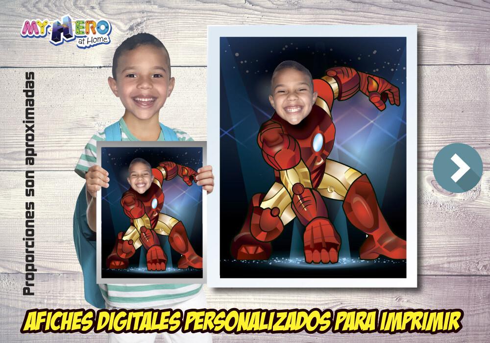 Afiche Personalizado de Iron-Man. Convierta a su niño en Iron-Man para protagonizar su Afiche de Iron-Man. Decoración Iron-Man. 474SP