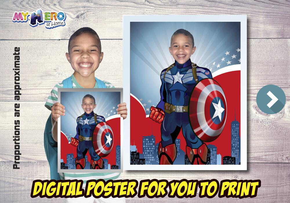 Captain America Poster, Captain America Decor, Captain America Fans, Captain America Wall, Avengers Decor, Captain America Party. 476