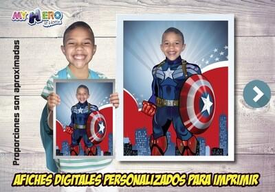 Afiche Personalizado del Capitán América. Convierta a su niño en el Capitán América para protagonizar su Afiche de Capitán América  Decoración Capitán América. 476SP