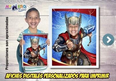 Afiche Personalizado de Thor. Convierta a su niño en Thor para protagonizar su Afiche de Thor. Decoración de Thor. 477SP