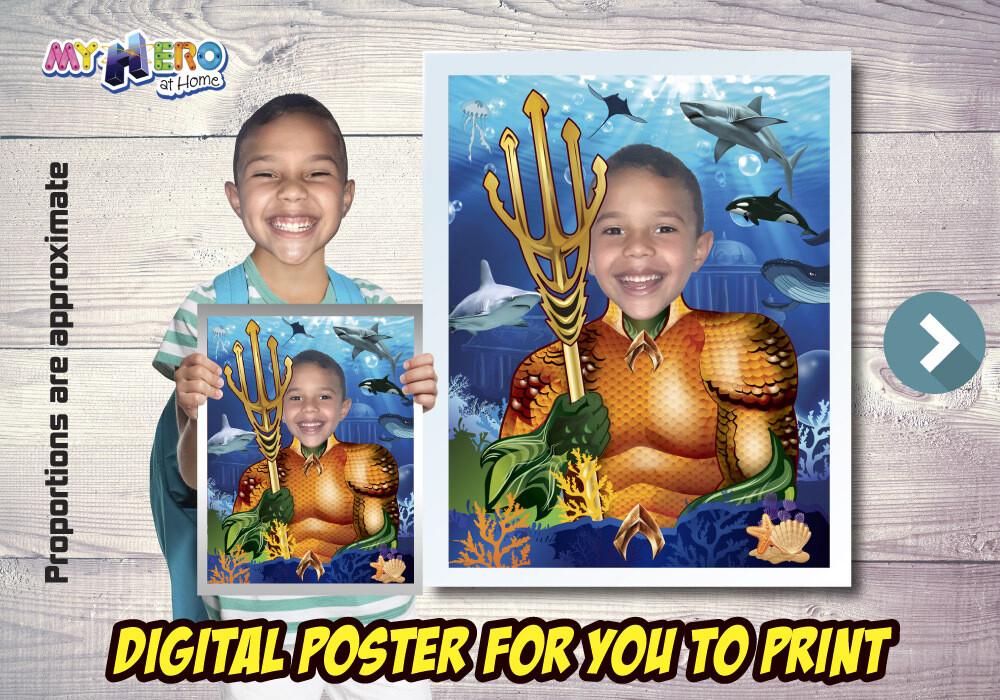 Aquaman Poster, Aquaman Decoration, Aquaman Gifts Fans, Aquaman Wall Decor, Justice League Decor, Aquaman theme Party. 479