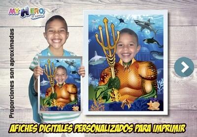 Afiche Personalizado de Aquaman.  Convierta a su niño en Aquaman para protagonizar su Afiche de Aquaman. Decoración Aquaman. 479SP