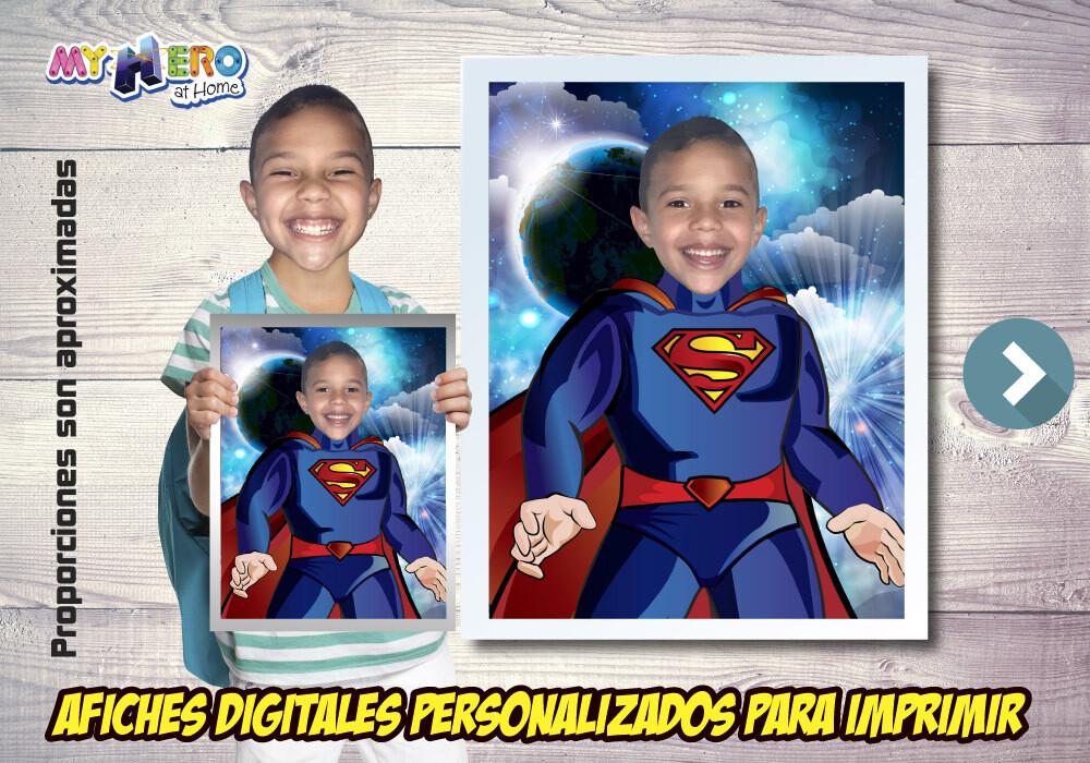 Afiche Personalizado de Superman  Convierta a su niño en Superman para protagonizar su Afiche de Superman. Decoración Superman. 478SP