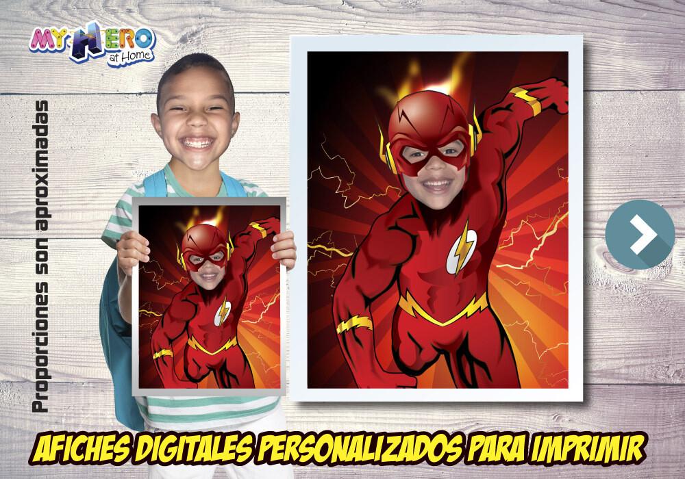 Afiche Personalizado de Flash.  Convierta a su niño en Flash para protagonizar su Afiche de Flash. Decoración Flash. 481SP
