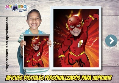 Afiche Personalizado de Flash.  Convierta a su niño en Flash para protagonizar su Afiche de Flash. Decoración Flash. 481SP