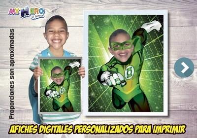 Afiche Personalizado de Green Lantern.  Convierta a su niño en la Linterna Verde para protagonizar su Afiche de Green Lantern. Decoración Linterna Verde. 482SP