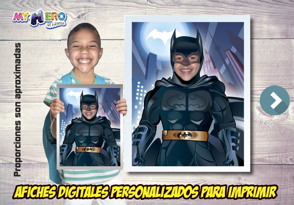 Afiche Personalizado de Batman.  Convierta a su niño en Batman para protagonizar su Afiche de Batman. Decoración Batman. 480SP