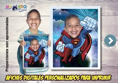 Afiche Personalizado de Superman  Convierta a su niño en Superman para protagonizar su Afiche de Superman. Decoración Superman. 483SP