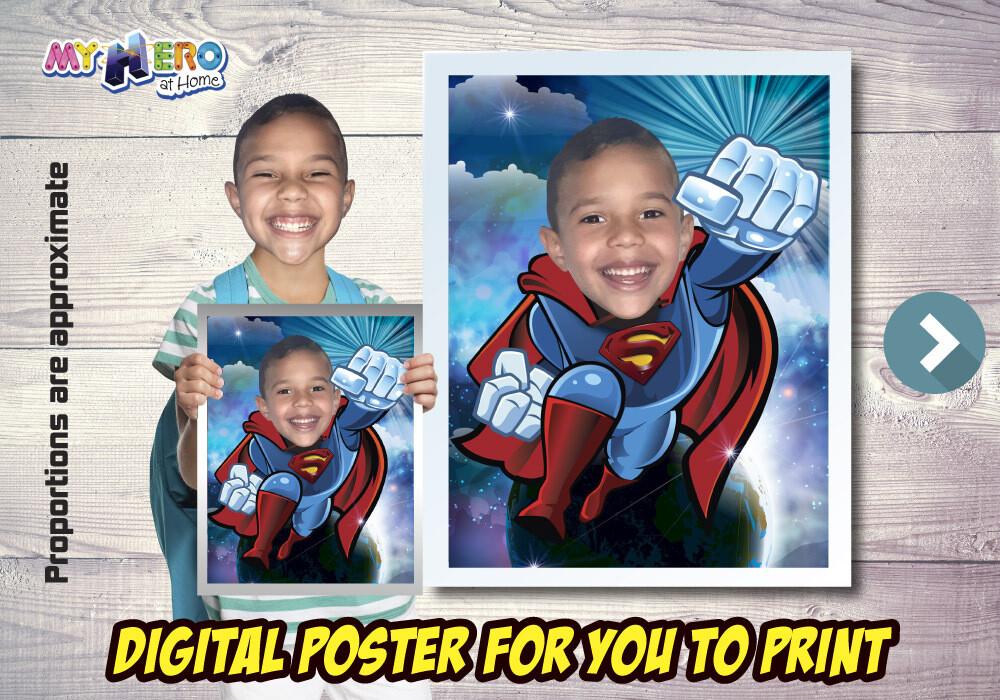 Superman Poster, Superman Decoration, Superman Gifts Fans, Superman Wall, Superman theme Party, Superman Birthday Decor. 483