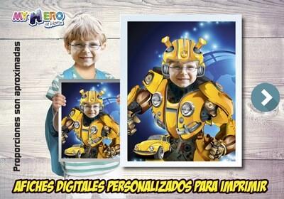 Afiche Personalizado de Bumblebee.  Convierta a su niño en Bumblebee para protagonizar su Afiche Transformers. Decoración Bumblebee. 490SP