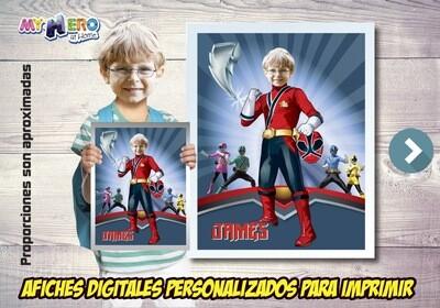 Afiche Personalizado de Power Rangers. Convierta a su niño en el Power Ranger Rojo para protagonizar su Afiche Power Rangers.  Decoración Power Rangers. 489SP