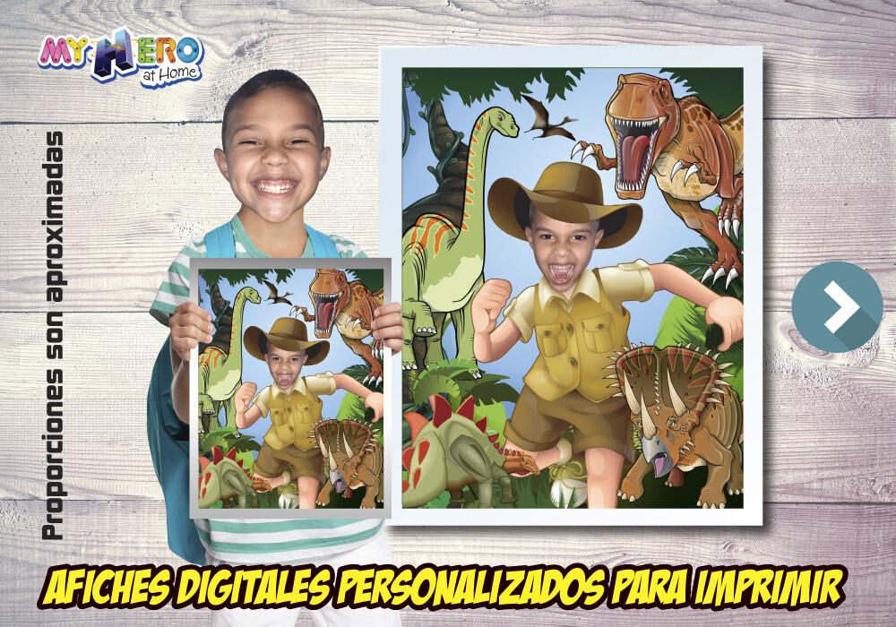 Afiche Personalizado de Dinosaurios. Convierta a su niño en un explorador para protagonizar su Afiche de Dinosaurios. Decoración Dinosaurios. 492SP
