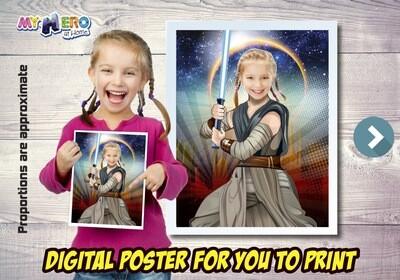 Jedi Rey Poster, Jedi Rey Decoration, Jedi Rey Art, Jedi Rey Gifts Fans, Jedi Rey Wall, Star Wars Decor, Star Wars Gifts Fans, Jedi Rey Party. 496