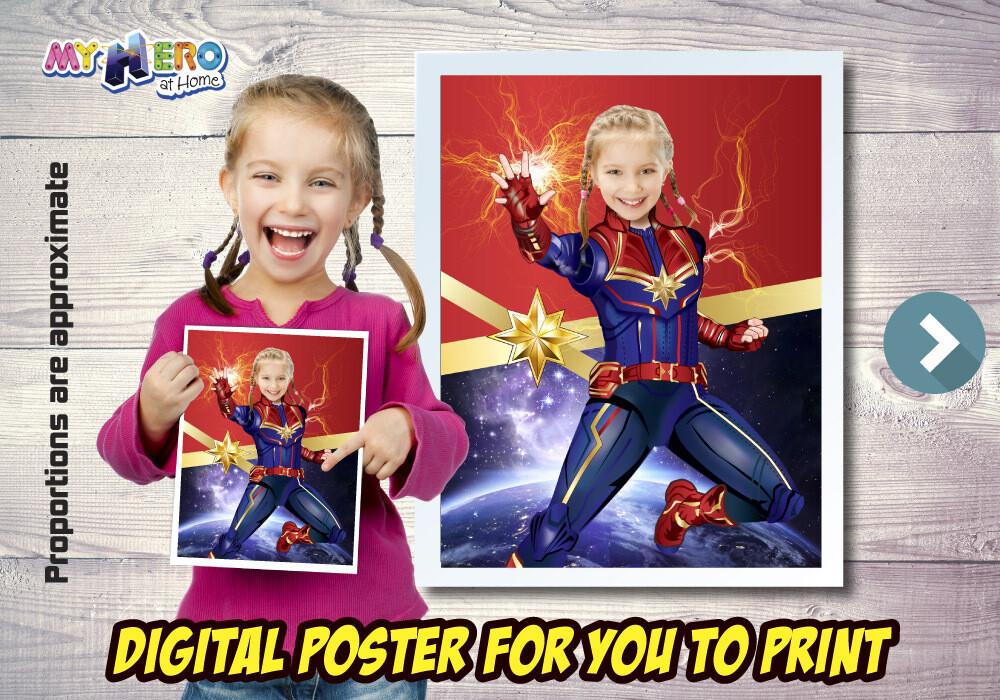 Captain Marvel Poster, Captain Marvel Decor, Captain Marvel Art, Captain Marvel Gifts Fans, Captain Marvel Wall, Super Hero Girls Decor. 501