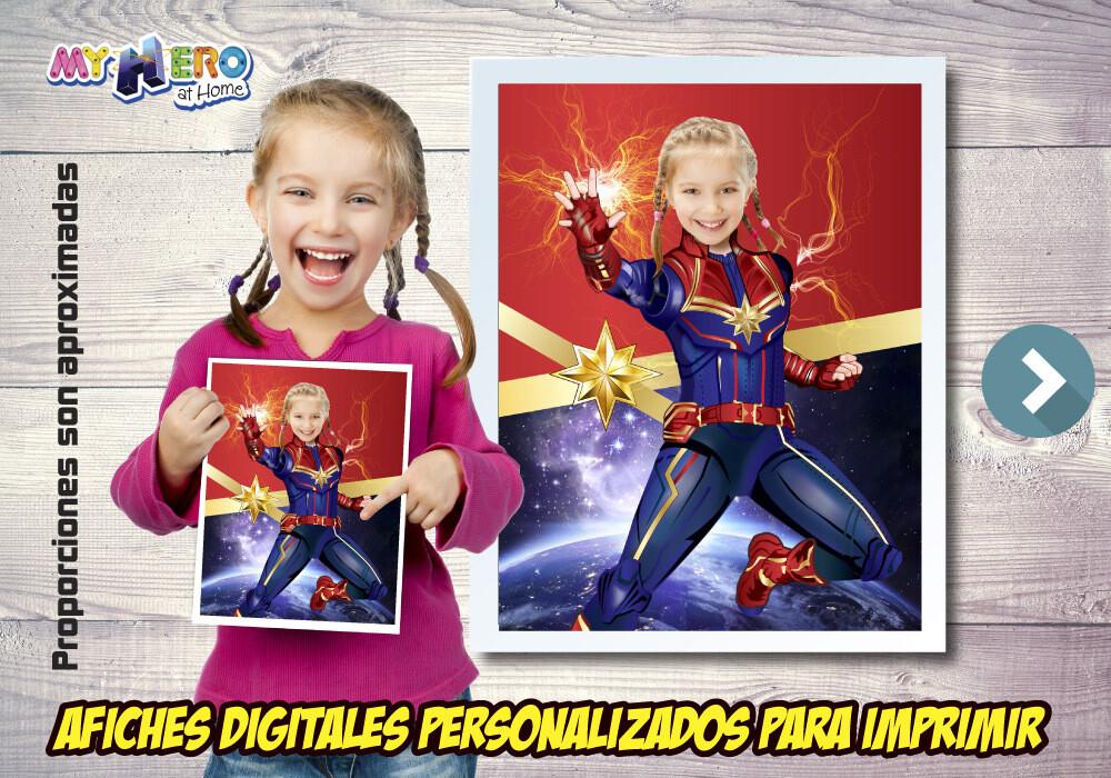 Afiche Personalizado de la Capitana Marvel, Decoración Capitana Marvel, Afiche Capitana Marvel. Fiesta Capitana Marvel. 501SP