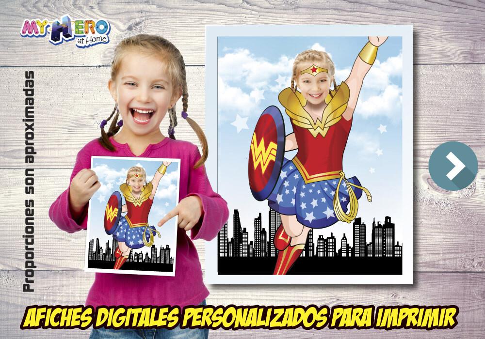 Afiche Personalizado de la Mujer Maravilla, Decoración Mujer Maravilla, Afiche Mujer Maravilla. Fiesta Wonder Woman. 502SP