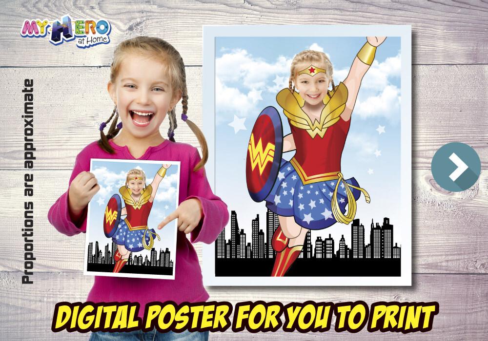 Wonder Woman Poster, Wonder Woman Decor, Wonder Woman Gifts Fans, Wonder Woman Wall, Super Hero Girls Decor, Wonder Woman Party. 502