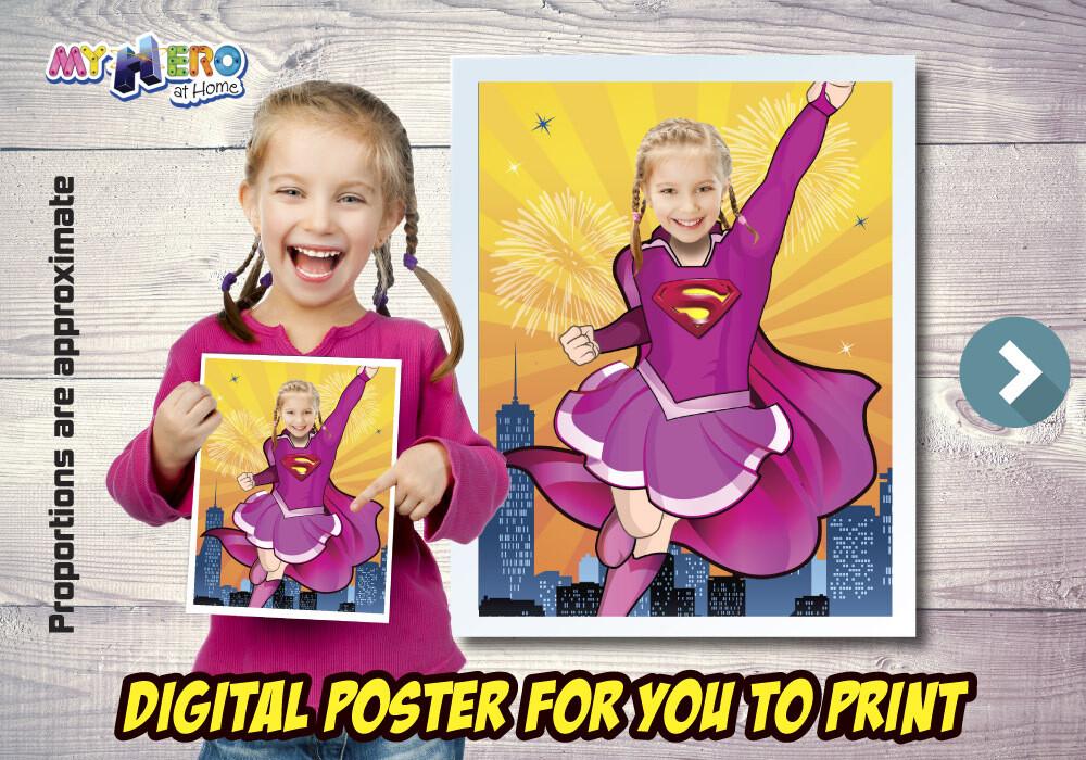 Supergirl Poster, Supergirl Decoration, Supergirl Art, Supergirl Gifts Fans, Supergirl Wall, Super Hero Girls Decor, Supergirl Party. 503