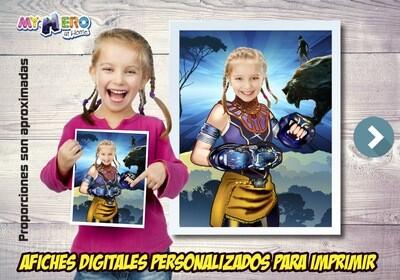Afiche Personalizado de la Princesa Shuri, Decoración Princesa Shuri, Afiche Princesa Shuri. Fiesta Black Panther Ninas. 505SP