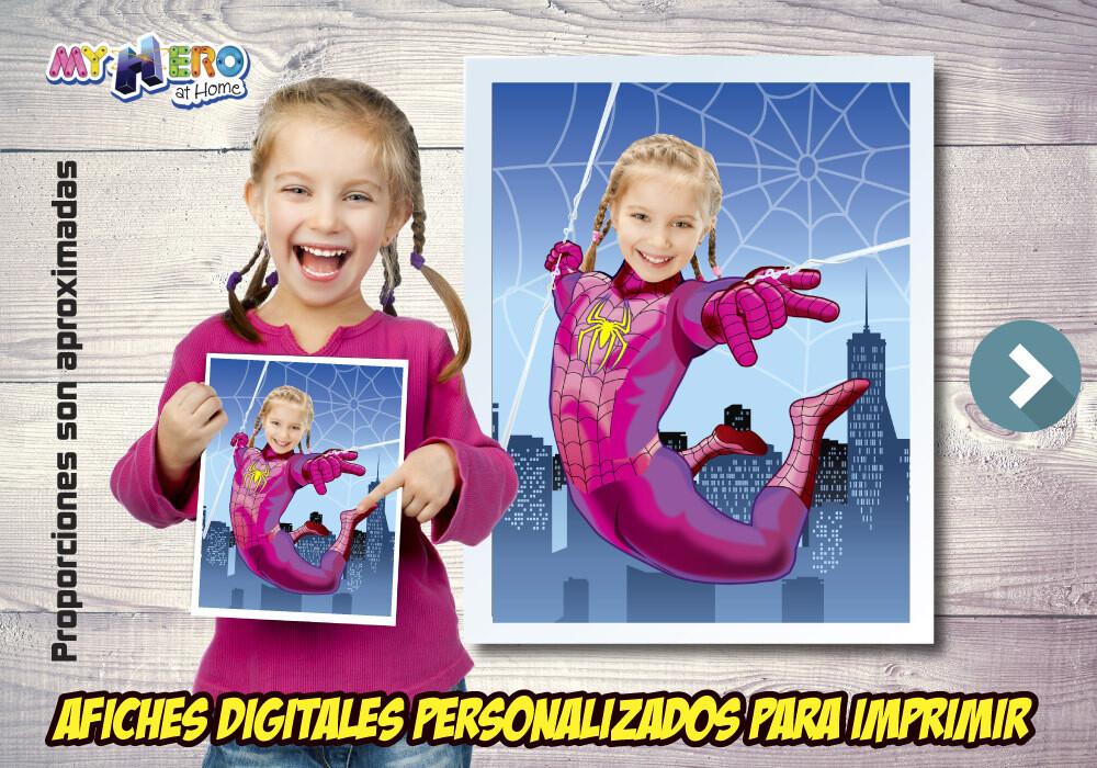 Afiche Personalizado de Spider-Girl, Decoración Spider-Girl, Afiche Spider-Girl. Fiesta Mujer Arana. 507SP