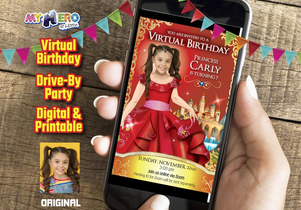 Princess Elena of Avalor Virtual Birthday Invitation, Princess Elena of Avalor Digital Invitation, Princess Elena of Avalor Photo Invitation. 248CV