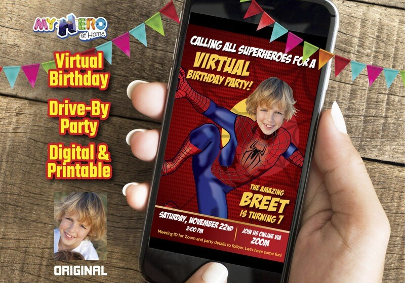 Spider-Man Digital Invitation, Spider-Man Virtual Birthday, Spider-Man Drive By, Spider-Man Invitation, Spider-Man theme party. 102CV
