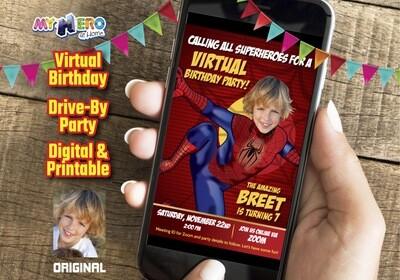 Spider-Man Digital Invitation, Spider-Man Virtual Birthday, Spider-Man Drive By, Spider-Man Invitation, Spider-Man theme party. 102CV