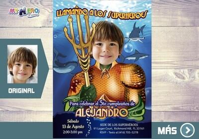Aquaman Invitacion de Cumpleanos, Fiesta tema Aquaman, Invitacion de Aquaman, Cumple tema Aquaman. 188SP