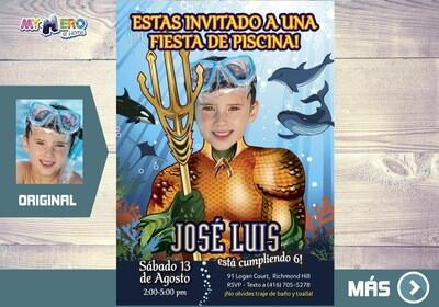 Aquaman Invitacion de Cumpleanos, Pool Party tema Aquaman, Invitacion de Aquaman, Cumple Piscina Aquaman. 190SP