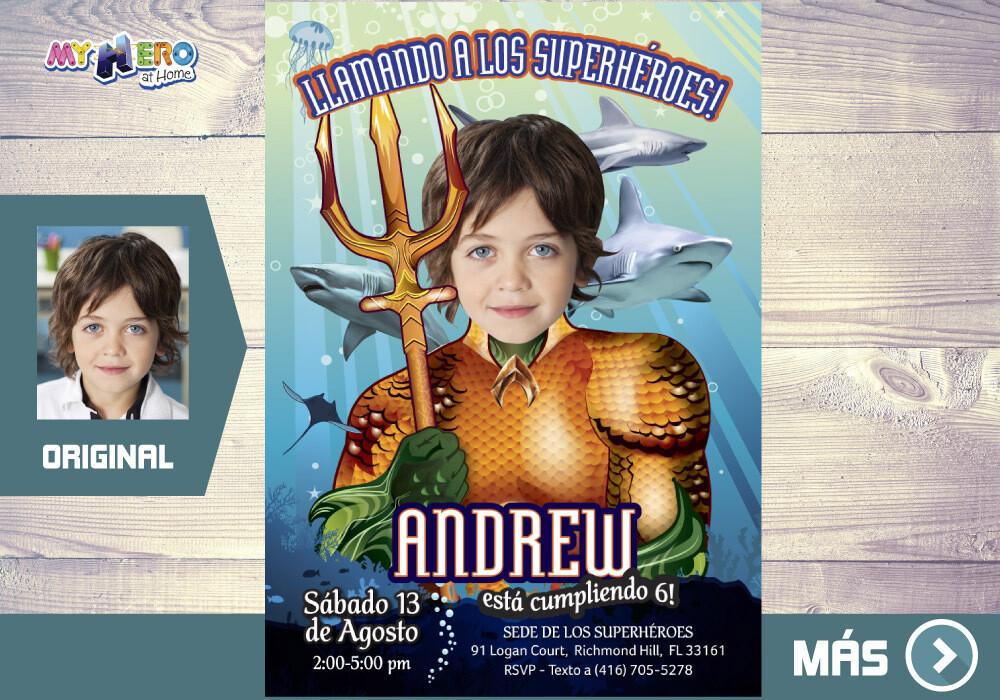 Invitacion de Cumpleanos Aquaman, Fiesta tematica Aquaman, Invitacion Digital  Aquaman, Cumple Aquaman. 194SP