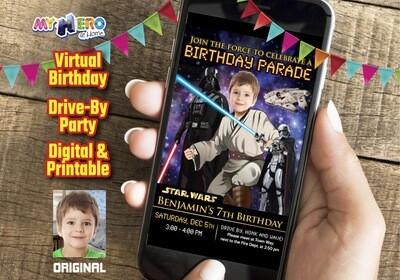 Star Wars Birthday Parade, Star Wars Drive By Birthday, Star Wars Digital Invitation, Jedi Virtual Party, Star Wars Virtual Birthday. 214DB