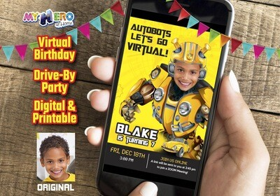 Bumblebee Virtual Birthday Invitation  Transformers Birthday Reminder, Bumblebee Virtual Party, Bumblebee Birthday Parade. 291CV