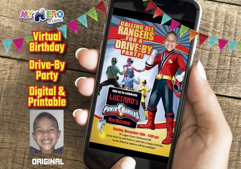 Power Rangers Drive By Birthday Invitation, Red Power Ranger Digital Invitation, Power Ranger Birthday Parade, Power Rangers theme party. 001DB