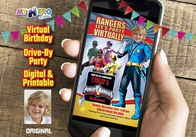 Power Rangers Virtual Birthday Invitation, Blue Power Ranger Digital Invitation, Power Ranges Drive-By Birthday, Power Rangers theme party. 395CV