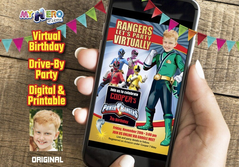 Power Rangers Virtual Party Invitation, Green Power Ranger Digital Invitation, Power Ranges Drive-By Party, Power Rangers theme party. 415CV