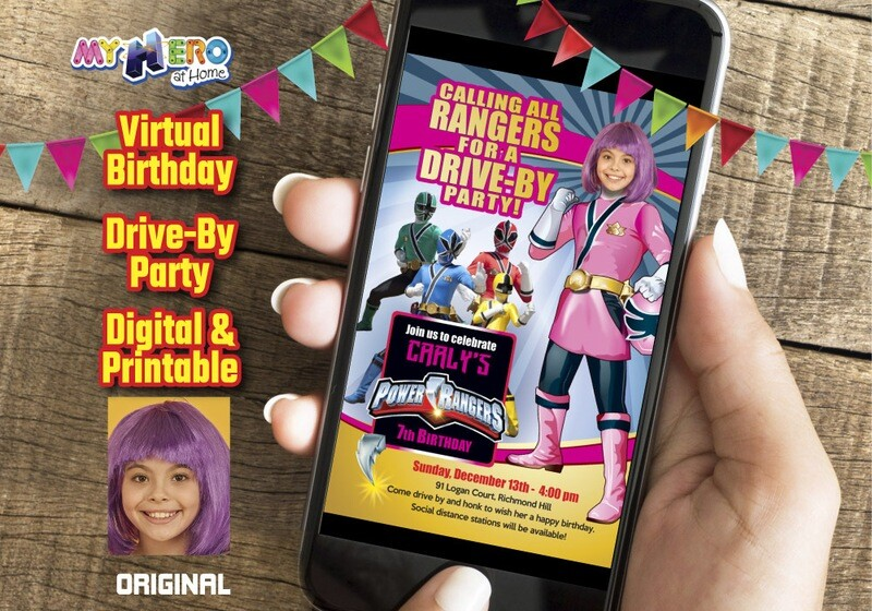 Girl Power Rangers Drive By Birthday, Pink Power Ranger Virtual Party, Pink Power Ranger Digital Invitation, Girls Power Rangers theme party. 396CV