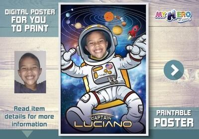 Afiche de Astronauta, Afiche Personalizado de Astronauta,  Decoración Astronauta, Fiesta Astronauta, Pared Sistema Solar. 359SP